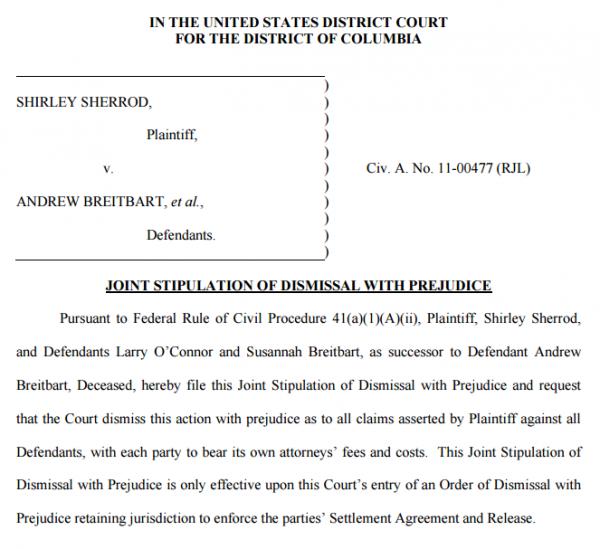 Sherrod v Breitbart Stipulation of Dismissal