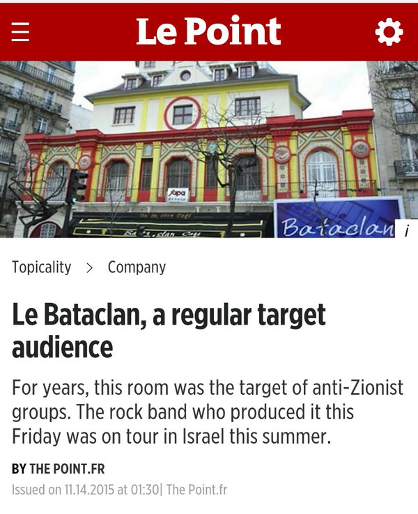 Le Point Le Bataclan Theater Headline