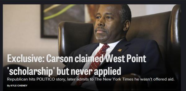 Politico Ben Carson West Point Homepage version 2