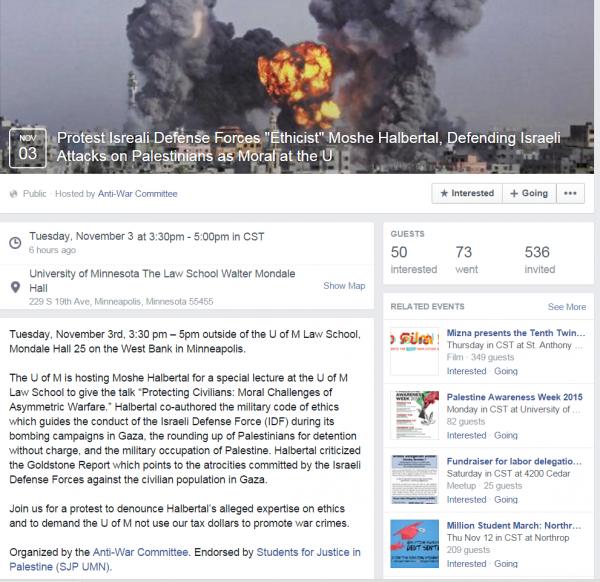 Univ Minnesota Moshe Halbertal Protest SJP Event Page