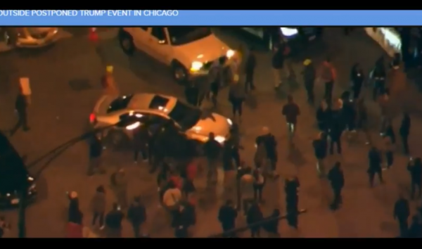 Trump Protest Chicago Outside Surrounding Car