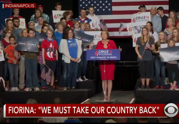 Carly Fiorina Announcement Cruz Stage