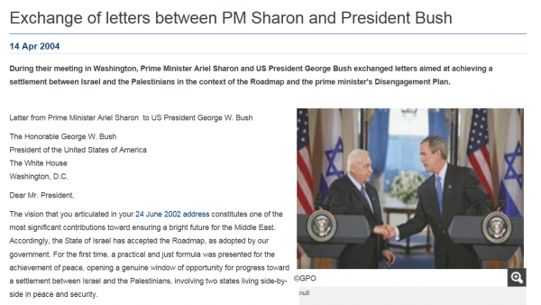 Exchange of Letters, Bush and Sharon 2004