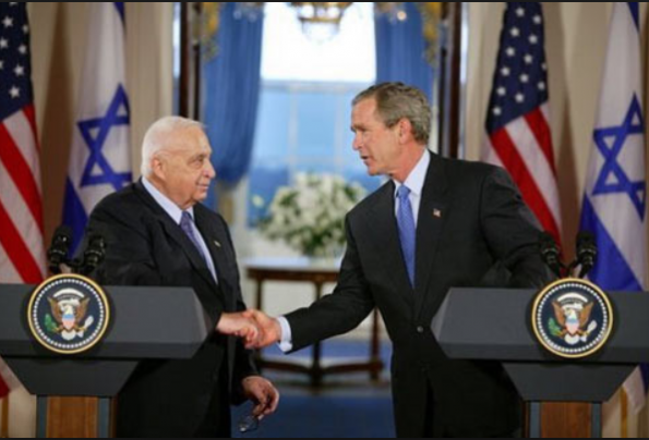 President George W. Bush and PM Ariel Sharon, Cross Hall, White House press conference, April 14, 2004 | credit: White House archives
