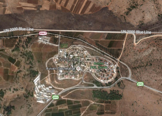 Moshav Avivim Satellite Map Border
