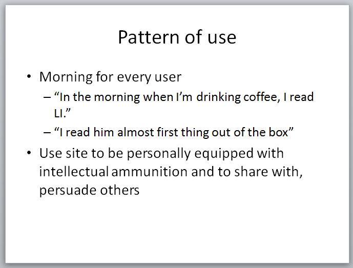 Legal Insurrection Research - Slide - Pattern of Use