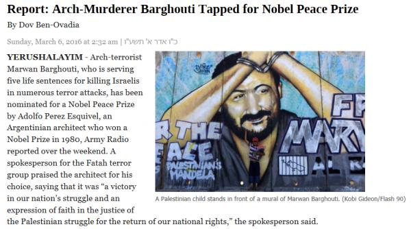 Nobel prize for Barghouti, Esquivel