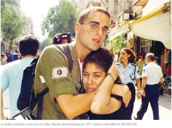 Ben Yehuda Market Bombing Jerusalem 1997 soldier comforts woman
