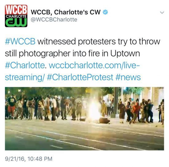 Charlotte riots try to throw photographer into fire