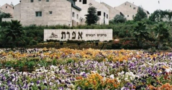 "In Hebrew: ""Welcome to Efrat"""