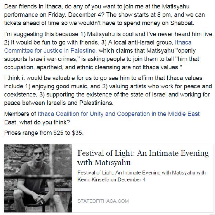 Support for Matisyahu Facebook
