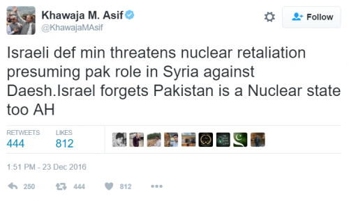 Pakistan Israel Stop Nuclear Defense To At Its Tweeting Minister Tells Threats