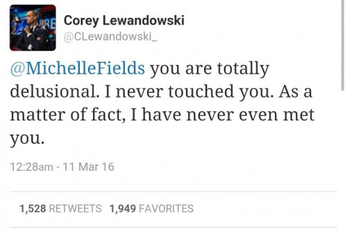 Corey Lewandowski Tweet Never Touched You