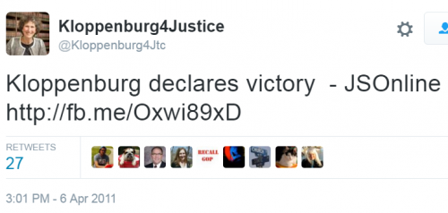 Kloppenburg Declares Victory Tweet 2011