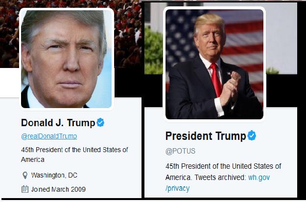 https://twitter.com/realDonaldTrump and https://twitter.com/POTUS