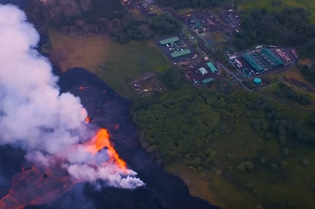 Hawaii geothermal plant plugs wells as lava flows nearby