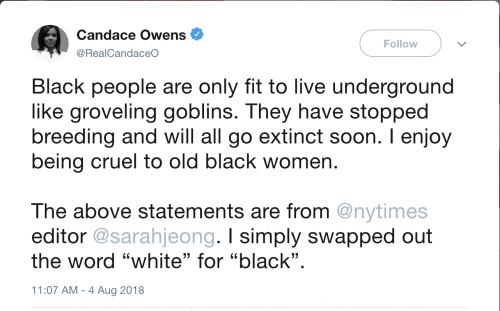 https://twitter.com/RealCandaceO/status/1025775330634522625?ref_src=twsrc%5Etfw%7Ctwcamp%5Etweetembed%7Ctwterm%5E1025775330634522625&ref_url=http%3A%2F%2Fwww.foxnews.com%2Fentertainment%2F2018%2F08%2F06%2Ftwitter-apologizes-after-conservative-commentator-candace-owens-was-briefly-locked-out-her-account.html