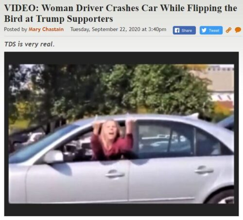 https://legalinsurrection.com/2020/09/video-woman-driver-crashes-car-while-flipping-the-bird-at-trump-supporters/